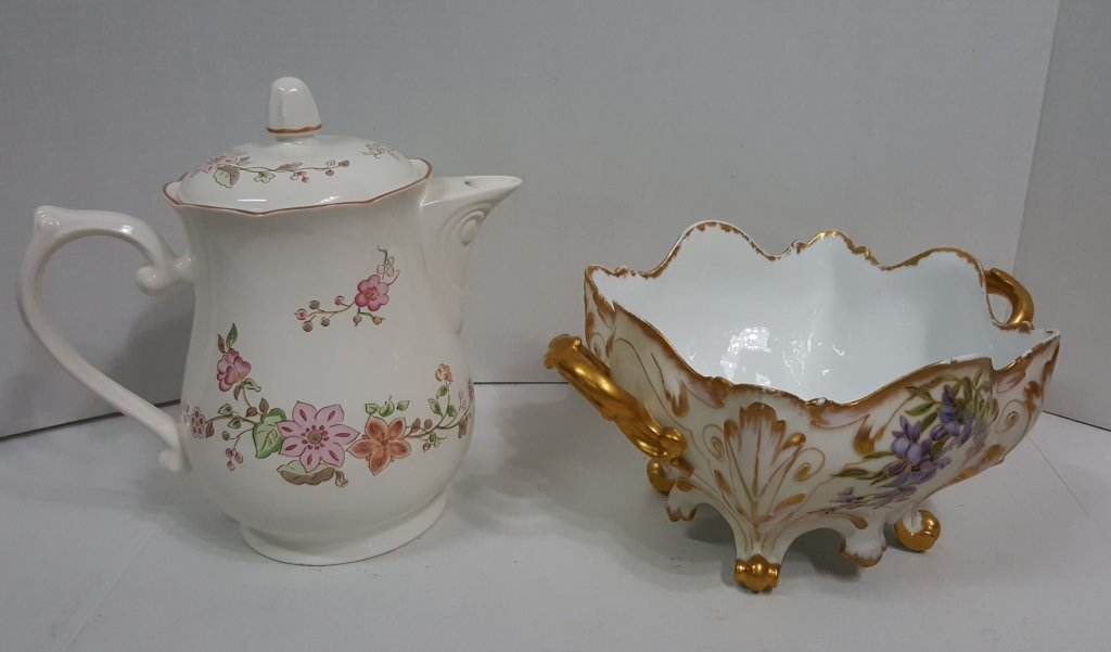 """Lenox """"Parasol"""" Coffee Pot & Signed Footed Bowl"""