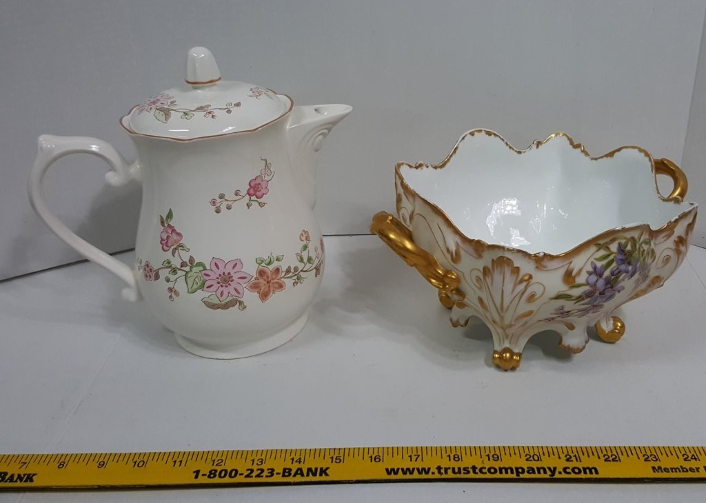 """Lenox """"Parasol"""" Coffee Pot & Signed Footed Bowl - 2"""