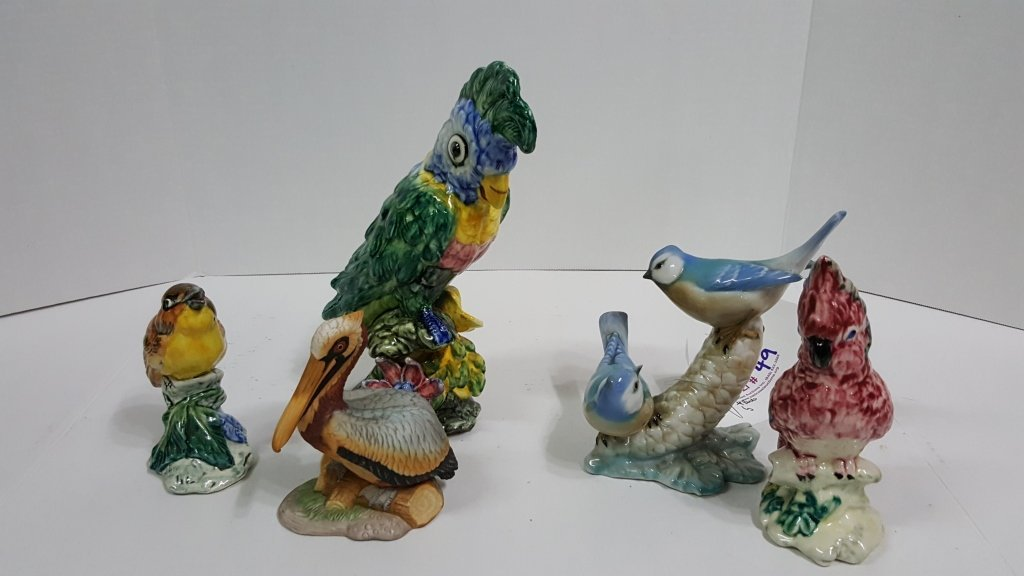 A flock of Quality Pottery Birds; Stangl, Lefton..