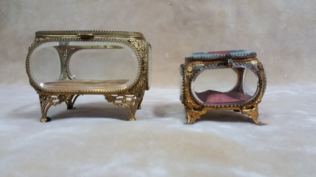 Antique French Glass & Bronze Jewelry Boxes - 2