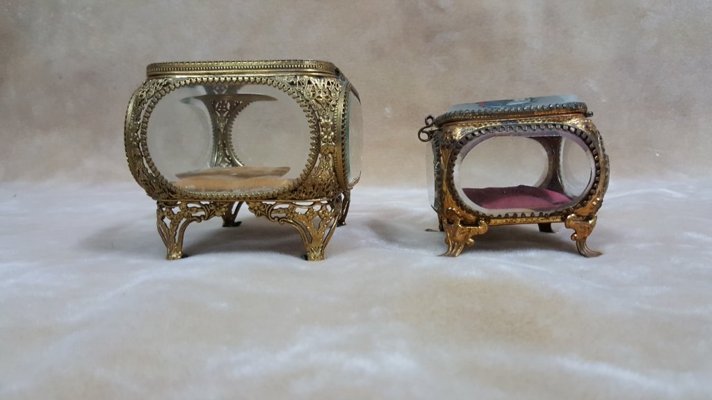 Antique French Glass & Bronze Jewelry Boxes - 3