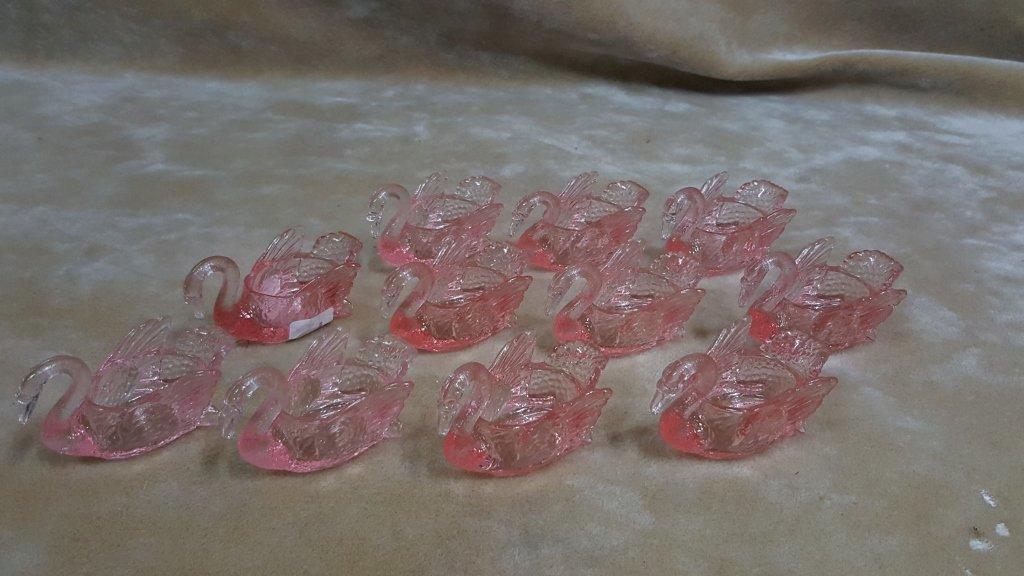 Cambridge Pink Glass Swan Open Salts