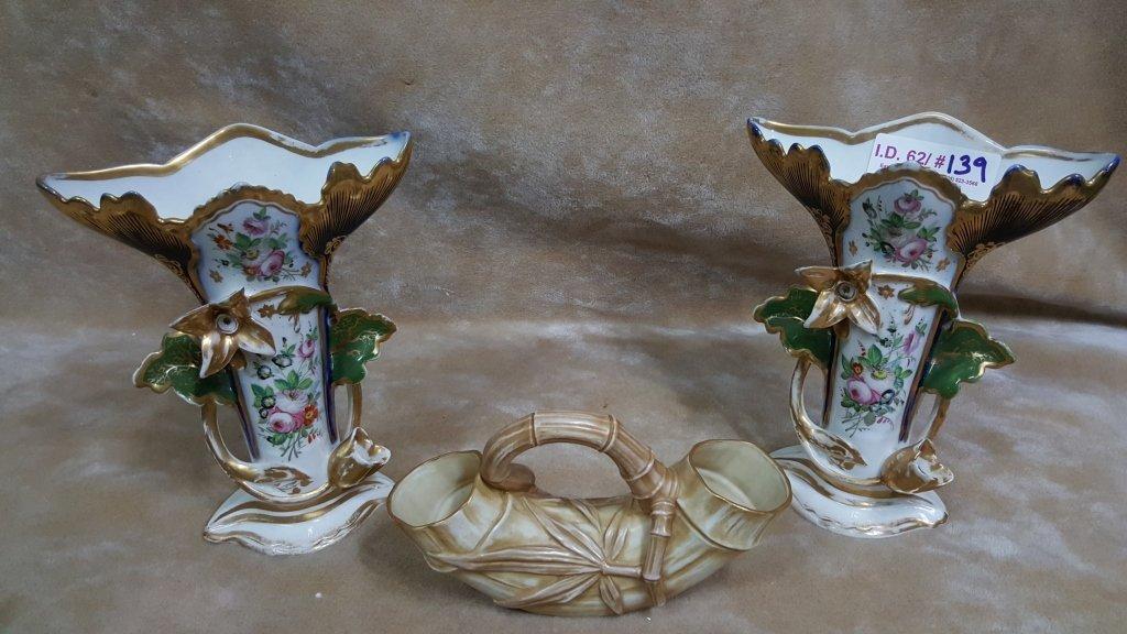 Royal Worcester and Pair of Paris Porcelain Vases