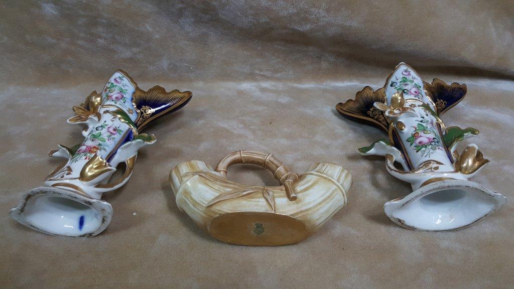 Royal Worcester and Pair of Paris Porcelain Vases - 2