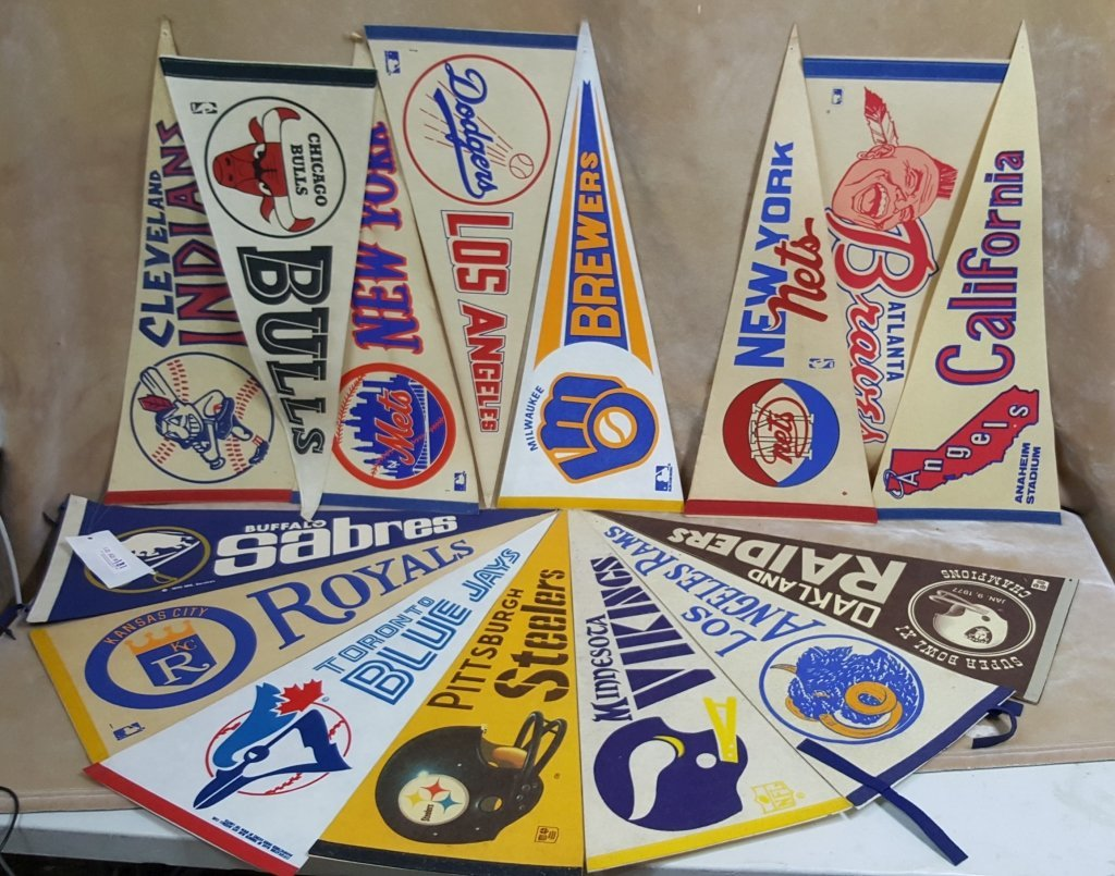 Vintage NFL, MLB, NBA and NHL Flag Collection