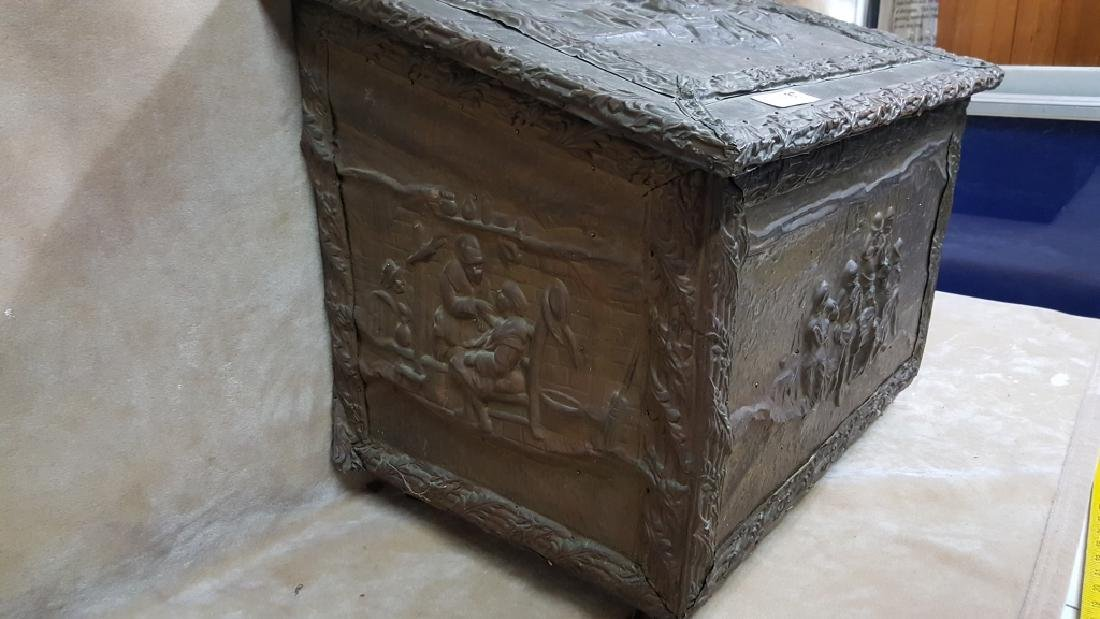 French Hammered Copper Coal Box