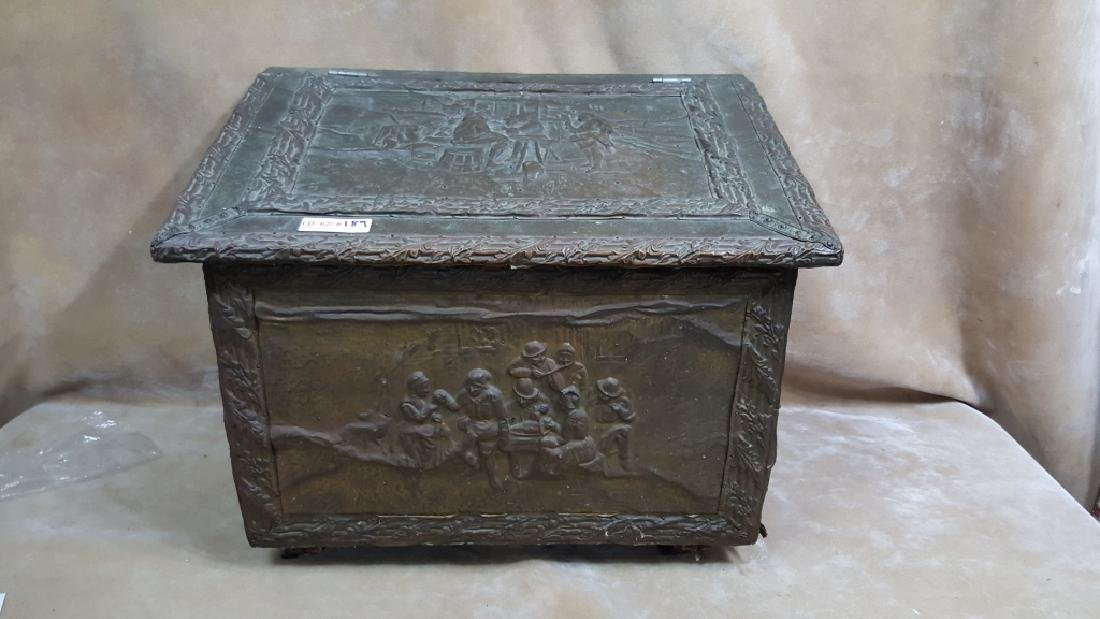 French Hammered Copper Coal Box - 3