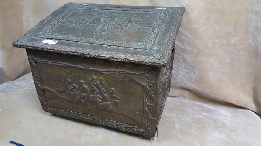 French Hammered Copper Coal Box - 4