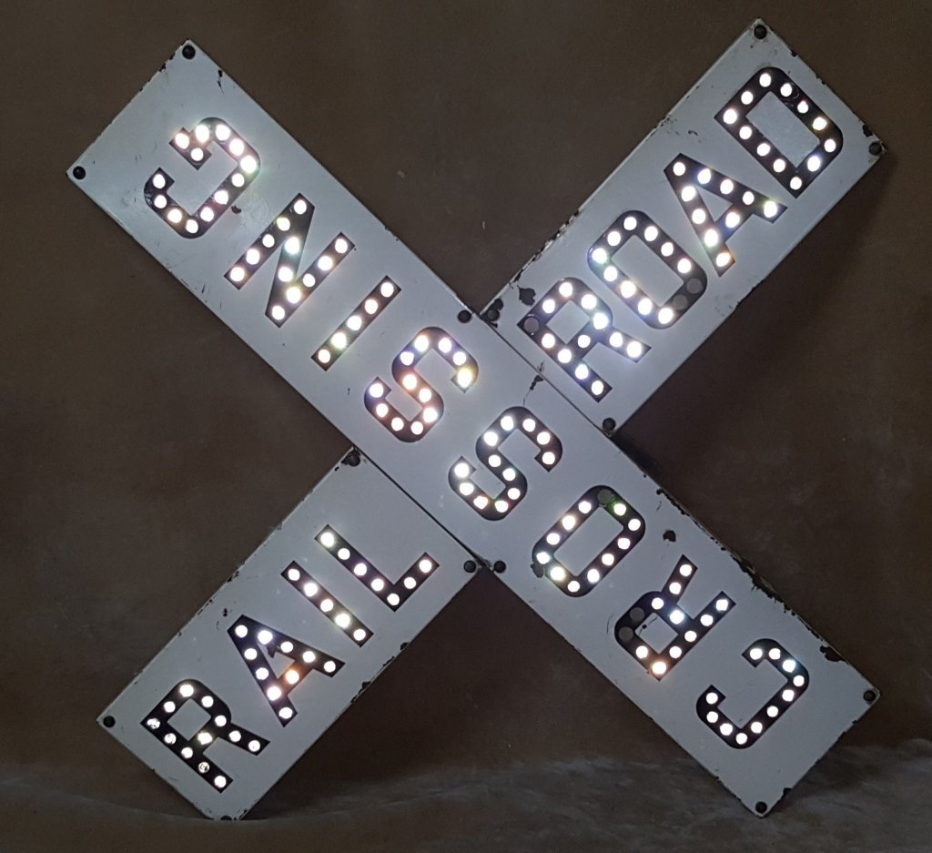 Porcelain Railroad Crossing Sign; Cats Eye Jewels
