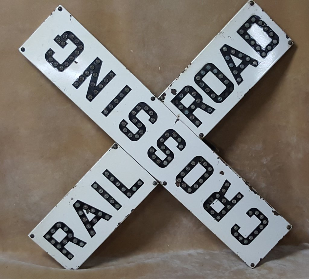 Porcelain Railroad Crossing Sign; Cats Eye Jewels - 2