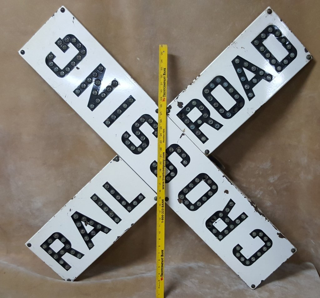 Porcelain Railroad Crossing Sign; Cats Eye Jewels - 4