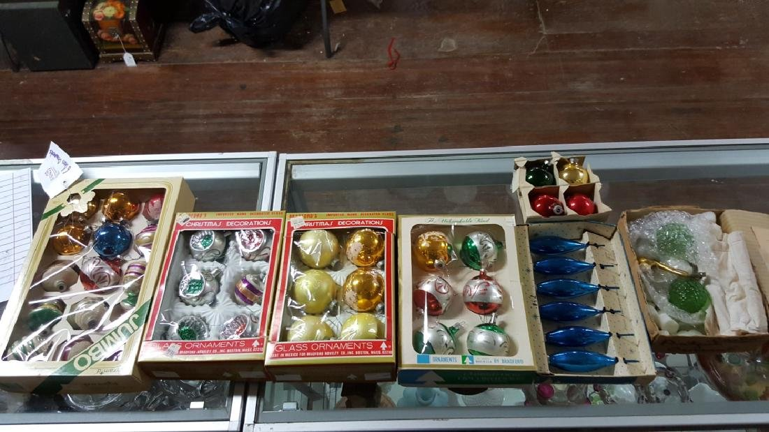 Shimmering Boxes Of Glass Christmas Ornaments