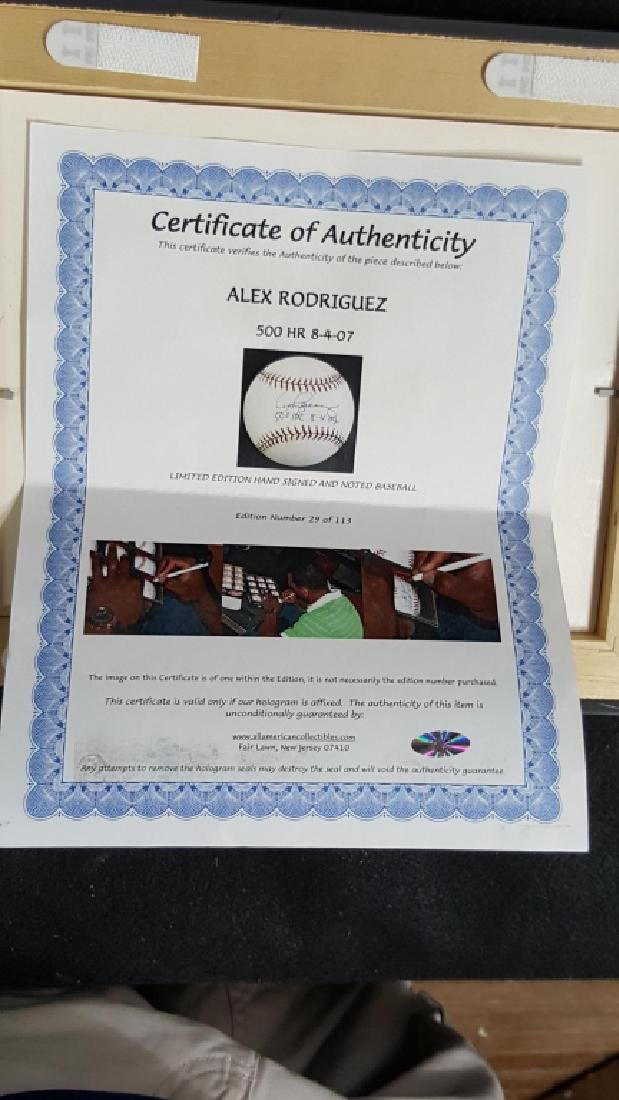 "NY Yankees Alex Rodriguez ""500 Home-Run"" Autograph - 3"