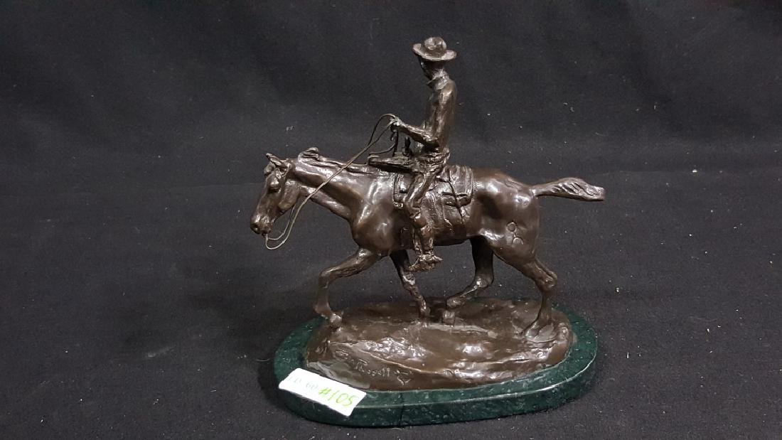 Bronze Western Cowboy Signed C.M Russell