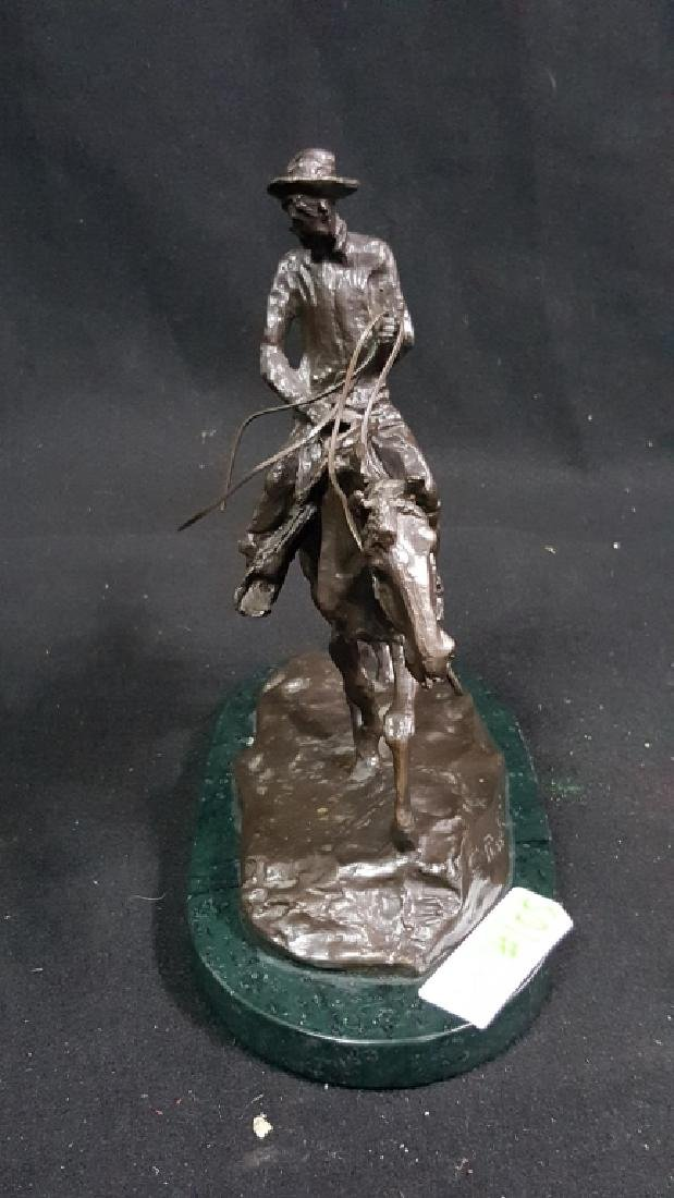 Bronze Western Cowboy Signed C.M Russell - 3