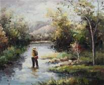 Fly Fishing Oil on Canvas