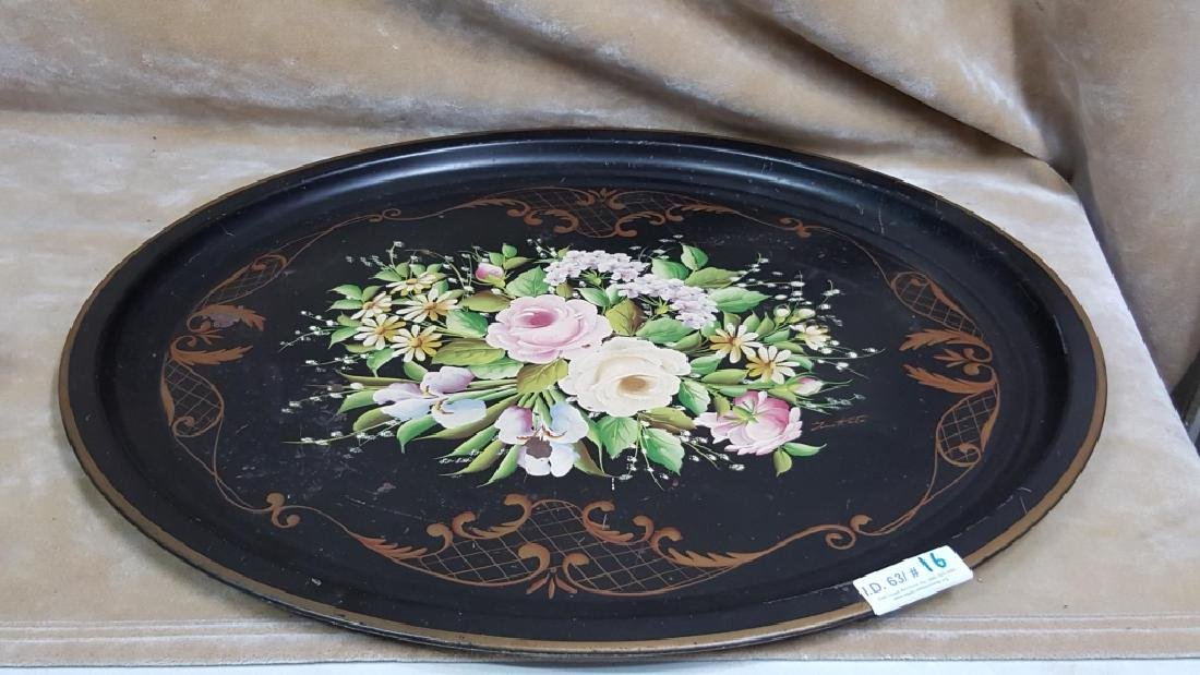 Floral Painted Tole Tray