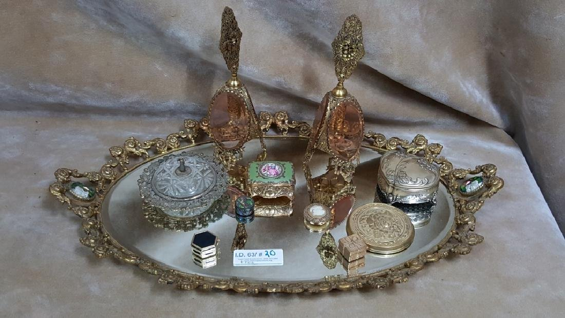 Cast Gilt Vanity Tray W/ Cameos and Boxes
