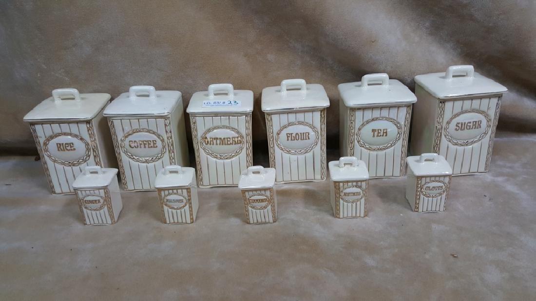 Czechoslovakian Porcelain Lusterware Canister Set