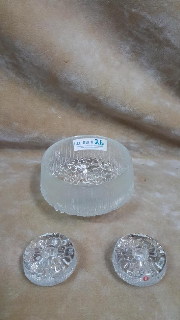 Tapio Wirkkala Glass Bowl/ Matching Candle Holders