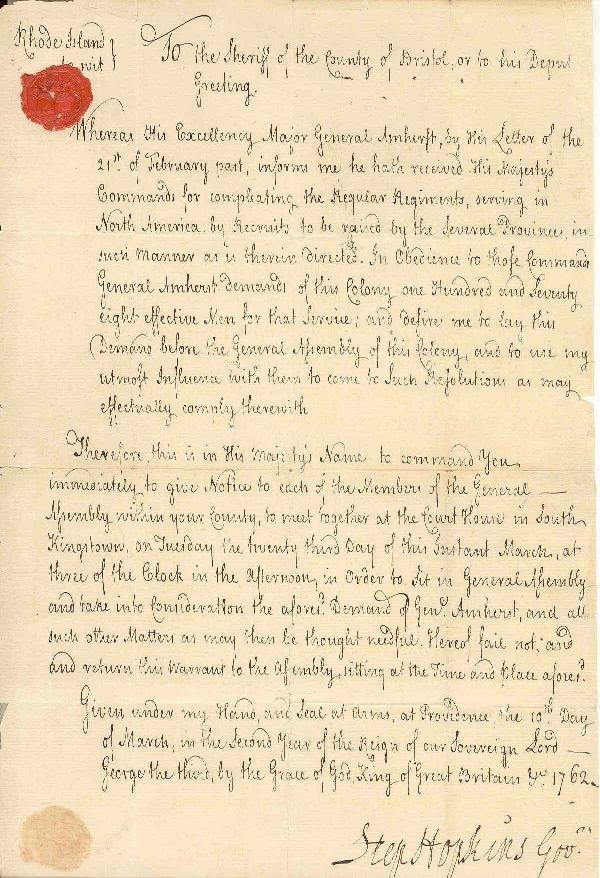 7: STEPHEN HOPKINS (1707-85)