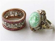 LOT (2) VICTORIAN DECO WHITE & 14K GOLD RINGS