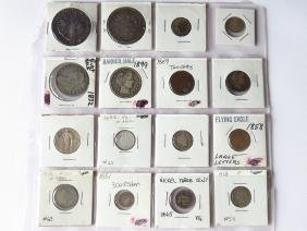 LOT ASSORTED COINS INCL. FLYING EAGLE