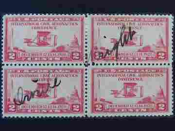 SCOTTS #649 BLOCK OF 4 SIGNED ORVILLE WRIGHT C. 1928