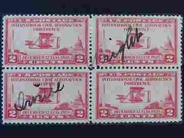 SCOTTS #649 BLOCK OF 4 SIGNED ORVILLE WRIGHT C. 1928