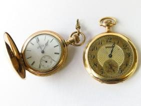 (2) 14K POCKET WATCHES, WALTHAM & HUNT CASE ELGIN