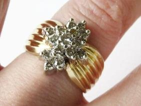 FINE 14 KT. YELLOW/WHITE GOLD/DIAMOND COCKTAIL RING