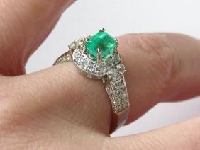 FINE ART DECO EMERALD, DIAMOND 18K W.GOLD RING