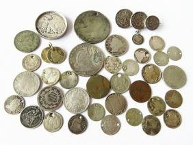 LOT COIN JEWELRY AMERICAN & ENGLISH 19TH C.