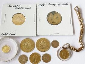 LOT ASSORTED GOLD COINS/HOLES