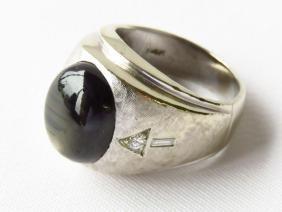 ART DECO MENS 14K W. GOLD/DIAMOND RING, SAPPHIRE