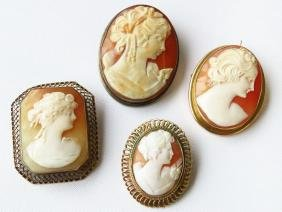 4 VICT. CAMEO BROOCHES, 2 14K BEZELS, STERLING & GF