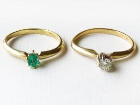 2 RINGS 14K Y.GOLD W/DIAMOND/14K Y.GOLD W/ EMERALD