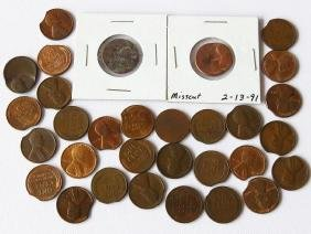 LOT (31) LINCOLN CENTS INCL. MINT ERRORS/CLIPPED