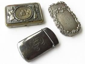 LOT (3) STERLING & SILVER PLATE MATCH SAFES 19/20TH C.