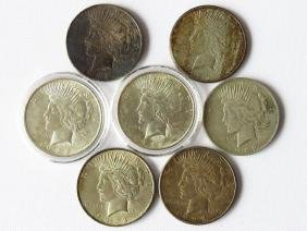 LOT (7) PEACE SILVER DOLLARS 1922, 1923, 1928S