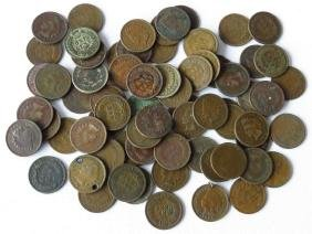 LOT ASSORTED INDIAN HEAD PENNIES FACE VALUE $.70