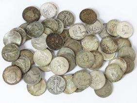 KENNEDY & WALKING LIBERTY HALF DOLLARS, VALUE $24.00