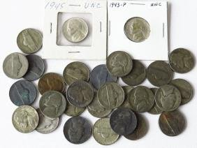 LOT SILVER NICKELS INCL. 1943-P UNC & 1945 UNC; $1.50