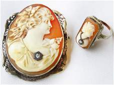 2 VICT. CAMEO BROOCH, 14K W.GOLD & RING W/DIAMOND