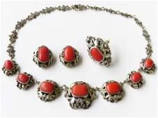 (3) AUSTRO-HUNGARIAN SILVER/14K RING, NECK. & EARRINGS