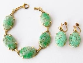 CHINESE CARVED JADE/14K GOLD BRACELET/EARRING C.1960