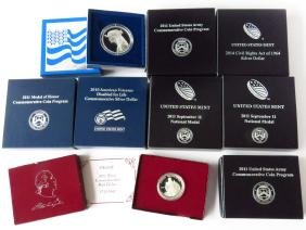 9 ASST COMMEMORATIVE COLLECTABLE SILVER COINS/CASED
