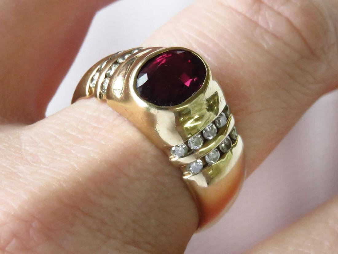 ART DECO RUBY, DIAMOND & 14K GOLD MENS RING