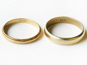 LOT (2) MENS 14 KT. YELLOW GOLD WEDDING BANDS