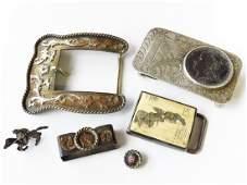 6 AMERICAN INDIAN SILVER DOLLAR BELT BUCKLES 1887